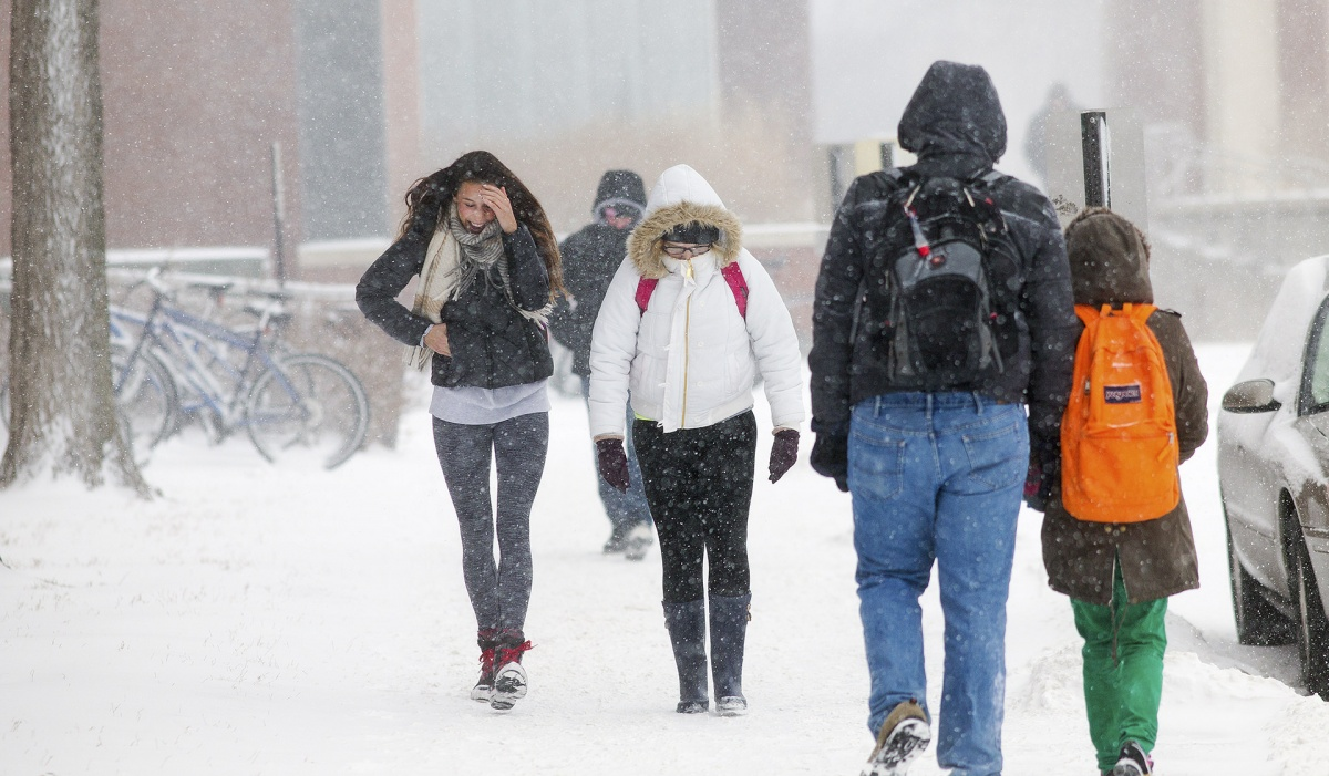 Students walking to class in a snow