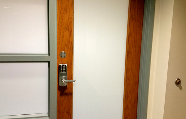 a pinpad access control inside a building